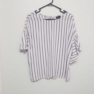 a.n.a blouse black and white medium